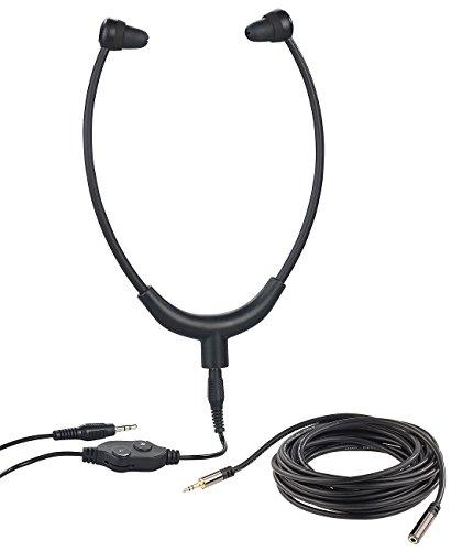 newgen medicals Kopfhörer mit Kabel: TV-Kinnbügel-Kopfhörer, 3,5-mm-Klinkenbuchse, 5 m Verlängerungskabel (Kopfhörer mit Audiokabel)
