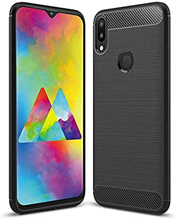 Bracevor Back Cover Case for Samsung Galaxy M20 Carbon Fiber Flexible Shockproof TPU Rugged Armor Brushed Texture - Black