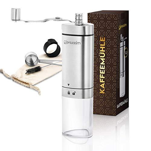 praxxim Kaffeemühle manuell – Handkaffeemühle in edlem Design – Espressomühle für 60ml Kaffeebohnen – Coffee Grinder mit praktischem Zubehör für entspannten Kaffeegenuss