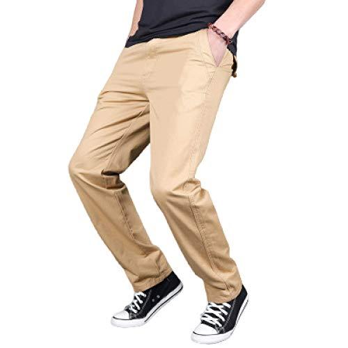 Pantalones de Talla Grande de Color sólido para Hombre, Ropa de Calle de Todo fósforo de Moda, Pantalones de Pierna Recta Informal de Negocios, Simplicidad L