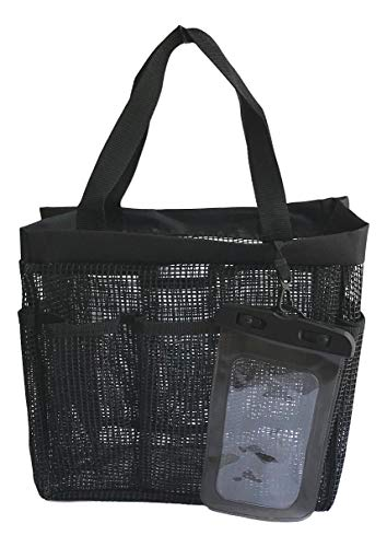 Shower Caddy Coated Mesh XLarge Tote Bag Includes 8 Pockets Waterproof Phone Pouch Gym Dorm Travel Quick Dry (Solid Black)