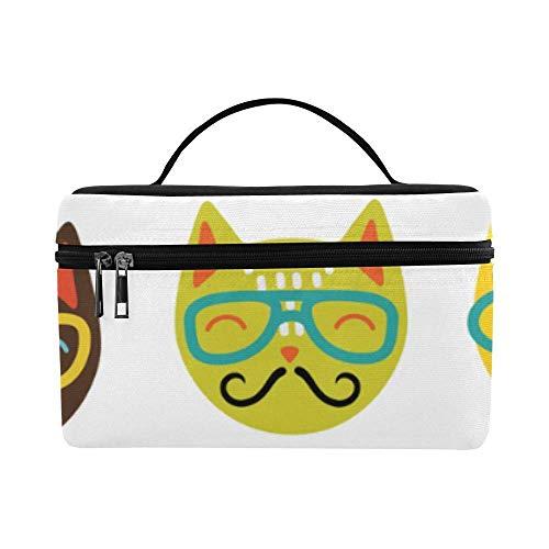 Tragbare hängende Make-up Tasche Make-up Tasche Robuste Kosmetiktaschen Brille Katze Cartoon Bild Wasserdichte Lunchpaket Picknick Bento Lun