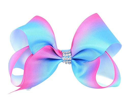 COMVIP Épingle Pince à Cheveux Enfant Fille Dégradé Barrette Strass Nœud Papillon Bleu