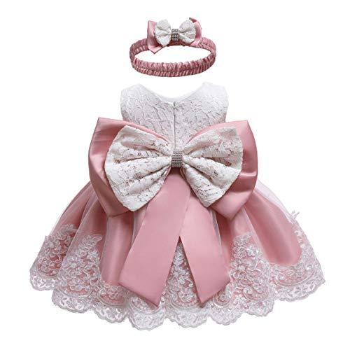 Frecoccialo Baby Mädchen Prinzessin Kleid 2tlg Set Bowknot Spitze Taufkleid Festlich Kleid Hochzeit Party Festzug Taufe Tutu Kleid 0-2 Jahre