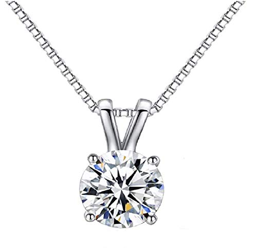 Weishu 18K White Gold Plated Cubic Zirconia Diamond Necklace Women's 2 Carat...