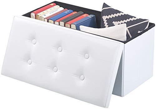 infactory Sitzbox: Faltbare 2in1-Sitzbank und -truhe, 80 l, bis 300 kg, Kunstleder, weiß (Sitz-Hocker)