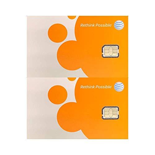 (2 Pack) Authentic AT&T ATT SIM Card Nano GSM 4G/3G/2G LTE Prepaid/Postpaid Starter Kit Unactivated Talk Text Data & Hotspot