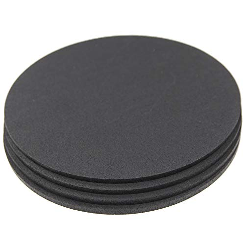 """RevTime 10"""" Heavy Duty Round Rubber Trivet for Rubber Cork Mat, Pot Holders, Stylish, Way to Set Any Plant Pot, Kettle, Anti-Shock mat for Fish Bowl. Spoon Rest (Pack of 4) Black"""