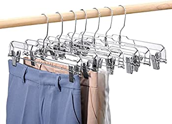 HOUSE DAY 25 Pack Crystal Skirt/Slack Hangers Non-Slip with Ajustable Clips Space Saving Heavy Duty Slim Clear Pants Hangers Solid Elegant for Trousers Skirts Jeans Slacks Pants Bottoms 14inch