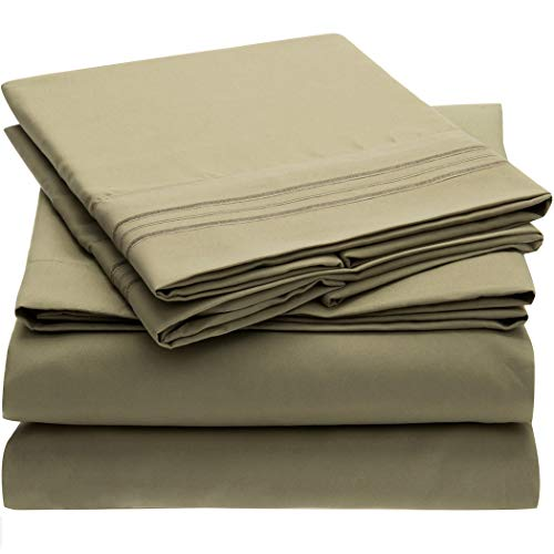 Mellanni Bed Sheet Set - Brushed Microfiber 1800 Bedding - Wrinkle, Fade, Stain Resistant - 4 Piece (Queen, Olive Green)