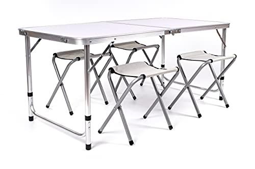 BESTIF Campingtisch mit Stühlen klappbar   Falttisch höhenverstellbar mit Tragegriff   Stabiler Camping Set Tisch + 4 Stühle aus Aluminium   120x60x70 cm