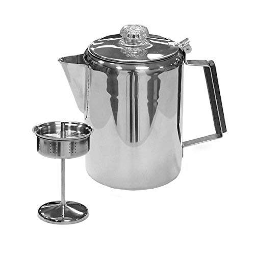 Stansport 3-Piece 9 Cup Stainless Steel Percolator Coffee Pot