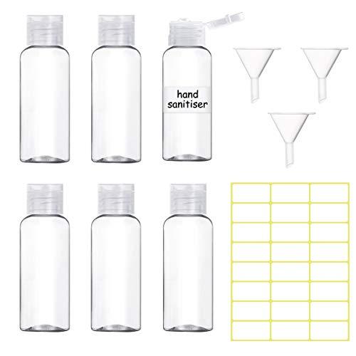 6 Stück Reiseflasche 50ml, Leer Flip-Cap-Flaschen Mini Plastik Fläschchen Reiseflaschen mit 3 Trichtern und 24 Stück Etiketten