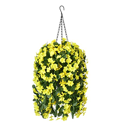 Hanging Artificial Flowers Basket, Fake Hanging Plant, Silk Orchid Flowers, Faux Flower Arrangement for Outdoor Garden Yard Pouch Patio Indoor Home Decoration (Yellow)