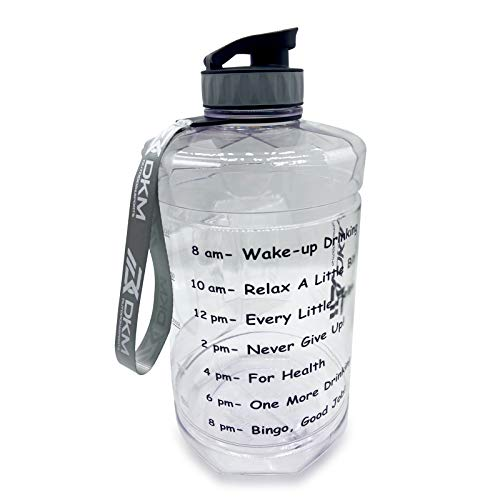 DKM 1 Gallon (128-OZ) Water Bottle Sports Water Bottle with Motivational Maker Reminder BPA Free and Leak Proof Sports Gallon Jug Water Bottle (clear)