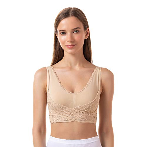 FITATH Women's Seamless Lace Padded Bra Wirefree Bralette(Nude,L)