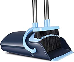 Broom and Dustpan Set 2021 Outdoor Or Indoor Broom Dust Pan 3 Foot Angle Heavy Push Combo Upright Long Handle for Kids Garden Pet Dog Hair Lobby Wood Floor Sweeping Kitchen House (Blue)
