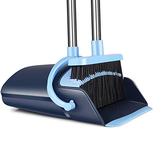 Broom and Dustpan Set 2021 Outdoor Or Indoor Broom Dust Pan 3 Foot Angle Heavy Push Combo Upright Long Handle for Kids Garden Pet Dog Hair Lobby Wood Floor Sweeping Kitchen House (Broom Blue)