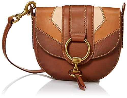 FRYE Damen Color Block Saddle Crossbody Leather Bag Ilana Satteltasche, Umhängetasche aus Leder, Farbblöcke, Cognac Multi, Einheitsgröße