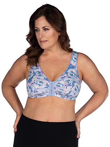 LEADING LADY Women's Plus Size Sleep Leisure Cotton Bra, Blue Lavender Rose, 48FGH