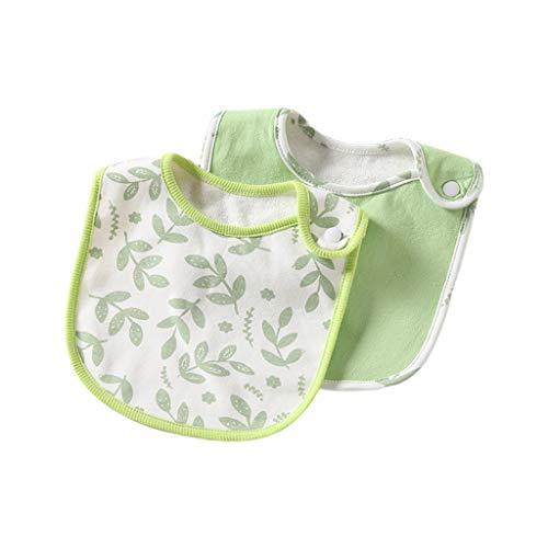 Juego de 2 baberos para bebé recién nacido, algodón suave, impermeable, para saliva