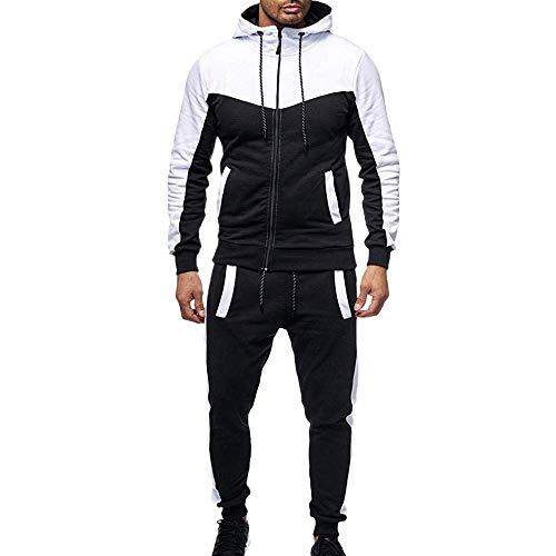 Men's Splicing Zipper Pocket Long Sleeve Hooded Sweater Sweatshirt Top Pants Set Sports Suit Tracksuit Jacket&Pant M-3XL