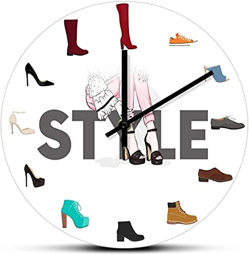 Reloj de pared digital Varios zapatos Reloj de pared con estampado para dormitorio femenino Zapatería Calzado Moda Arte de pared Zapatero Signo de negocios Reloj de pared Adecuado para tienda, sala de