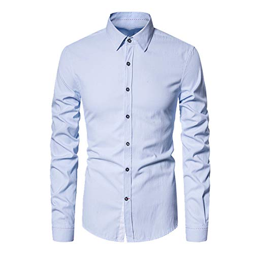 N\P Camisa de manga larga de primavera y otoño de color sólido Slim Casual