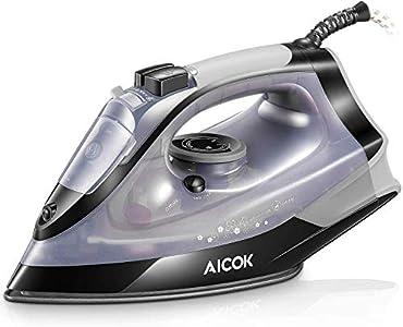 AICOK Plancha Ropa, Plancha de Vapor 2200W con Anti-Escala, Revestimiento Ceramic Coat, Anti Goteo, Auto Limpieza, 5 Modos de Control de Temperatur (Choque de Vapor y Vapor Vertical 180g/min), 300ml