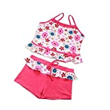 Topgrowth Costumi Da Bagno Bambina Costume da Bagno Due Pezzi per Bimba Neonata Stampa Floreale Bikini Set Swimwear Tank Top + Pantaloncini Bambina Set