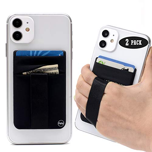 (2 Pack) Cell Phone Stick On Wallet Card Holder Sleeve Back - Double Pocket + Finger Grip Strap Loop for iPhone, Galaxy, Android, Mobile - Black