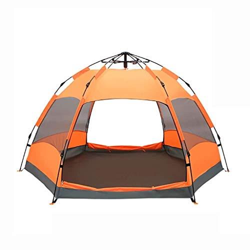 LEGOUGOU Lichtgewicht Camping Tent, Voor 5-8 Personen Outdoor Dome Tent, Opvouwbare Tent Waterdicht Met Luifel, Met 2 Entrees En 2000mm Waterkolom Oranje Multifunctionele waterdichte zonnescherm schaduw