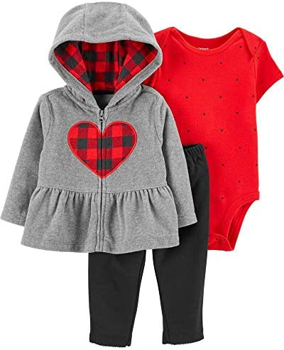 Carter s Baby Girls Cardigan Sets 121g771 12 Months Heather Red Black product image