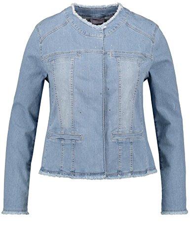 Samoon Damen Jacke Jeans + Gewebe Jeansjacke, Blau (Light Blue Denim 804869), 52