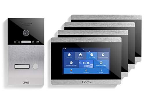 GVS Videoportero IP IP65 con RFID, monitor de 4 x 7 pulgadas, aplicación, cámara HD de 150°, apertura de puertas, memoria de 32 GB, interruptor PoE, 1 set para vivienda familiar, AVS4028A