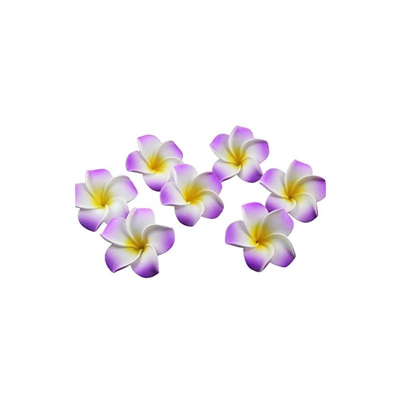 silk flower arrangements ewanda store 100 pcs diameter 2.8 inch artificial plumeria rubra hawaiian foam frangipani flower petals for weddings party decoration(purple)