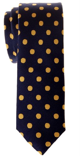 Retreez, cravatta da uomo in microfibra tessuta con motivo a pois Navy Blue with Yellow Dots Taglia unica