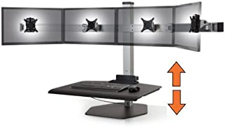Stand Steady Winston Workstation Quad Monitor Mount Sit-Stand Desk (Innovative WNST-4) | Four Monitor Standing Desk Workstation Converter with VESA Mount| Easy & Height Adjustable! (4 Monitor/Silver)