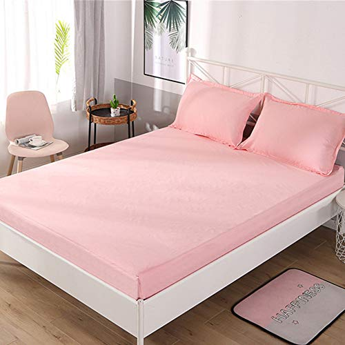 CNNINHAO 3 Piece Printed Bed Sheet Set, Easy Care Soft Microfibre All Around Elastics Breathable 12' Deep Pocket with 2 Pillowcases and 1 Fitted Sheet Single Double King (Pink,90x200+30)