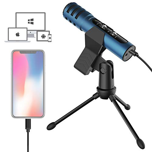 LESYAFEL Microphone for iPhone with Desktop Tripod Plug&Play,PS4,Mac and PC Android Smartphone Windows for Live Broadcast, Podcast, YouTube Video Recording