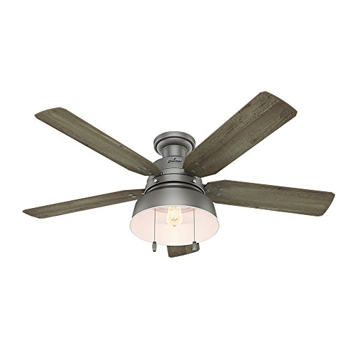 Hunter Indoor / Outdoor Low Profile Ceiling Fan with light and...