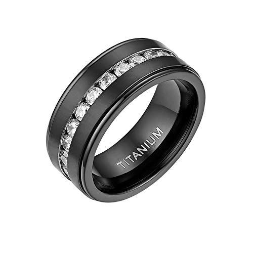 Mabohity Ring Herren Titan-Ring mit Zirkonia Titanium 8mm Breit Ewigkeit Ehering Verlobungsring Freundschaftsring Hochzeit Band, Schwarz, Größe 62