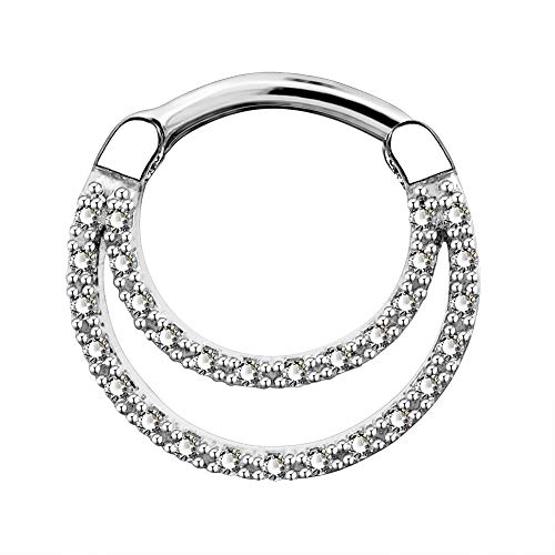 OUFER 16G Daith Septum Rings Unique Design Clear CZ Paved 316L Stainless Steel Daith Helix Earrings Septum Piercing Jewelry