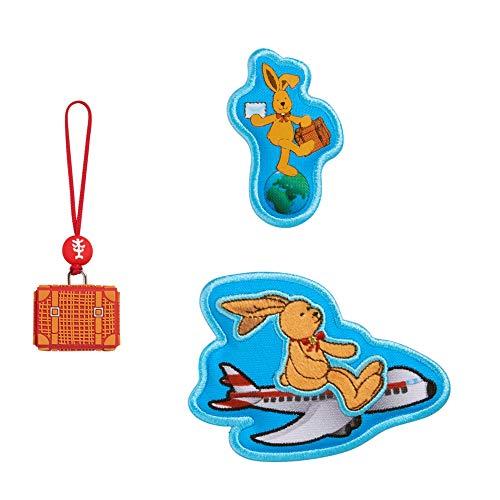 """Step by Step Magic Mags Spiegelburg """"Felix der Hase, Weltreise"""", 3-teilig, 2 Magnet-Applikationen und 1 Anhänger, als Ergänzung für den Schulranzen oder Vorschulrucksack, für Jungen und Mädchen"""