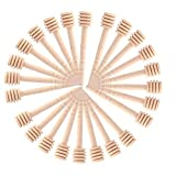 Cuchara Miel,50 PCS Dispensador de Miel Mini Madera Cazo de Miel Palitos de Miel de Pequeños Varilla para Recolectar Jarabe de Miel Melaza Café Leche Té 3 Pulgadas