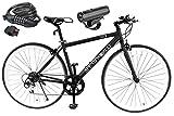 スピードワールド(SPEED WORLD) クロスバイク 90 組立 シマノ(SHIMANO) 700 28C(約27インチ) 自転車 安い 軽量 27インチ自転車 シマノ6段変速 変速 ギア付き スチールフレーム 適用身長155cm以上 初心者 おしゃれ オシャレ 黒 通勤 通学 大人 女性 (ブラック, 専用ワイヤー鍵とライト)