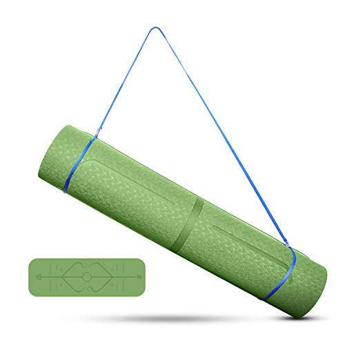 Uong Yogamatte Gymnastikmatte, TPE Yoga Matte rutschfest Sportmatte für Fitness Pilates & Gymnastik mit Körperausrichtungslinien Tragegurt 183 * 61 * 0.6cm