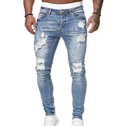 guoYL26sx Pantalones vaqueros ajustados para hombre, pantalones de lápiz, para motocicleta, fiesta, casual, ropa de calle vaquero