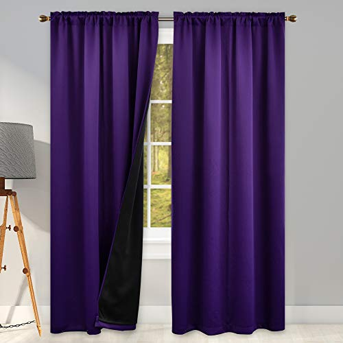 100 Blackout Purple Curtains for Bedroom 84 Inches Long - Thermal Insulated & Energy Saving Double Layer Curtains for Living Room (2 Panel Rod Pocket Top)