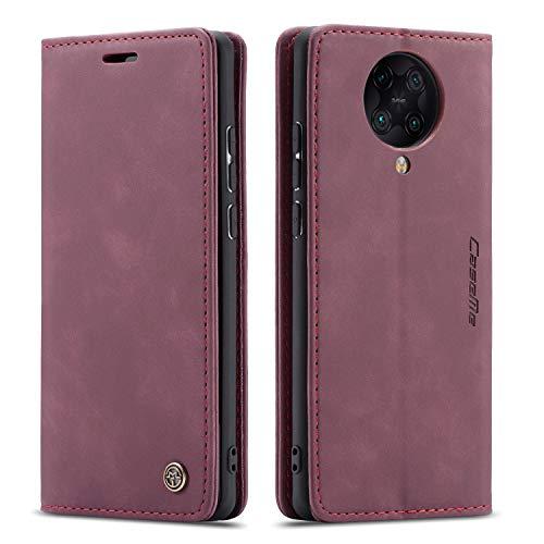 mvced Handyhülle Kompatibel mit Xiaomi Redmi Poco F2 Pro/Redmi K30 Pro,Premium Leder Flip Hülle Schutzhülle mit Standfunktion,Wein rot